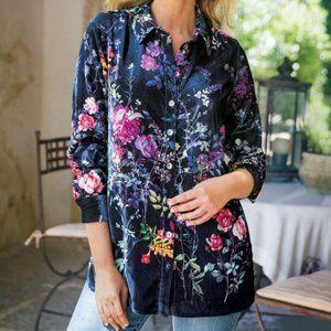 Soft Surroundings Jardim Blue Velvet Floral Shirt